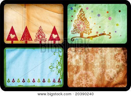 Grunge set of Christmas tree retro style cards with tree and swirls patterns on paper background, each card jumbo size 10x15cm