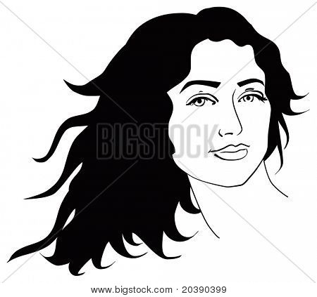 illustration of  woman face with long black curly hair