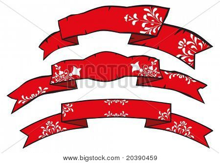 grunge holidays banners with floral folk swirls and scrolls patterns illustration