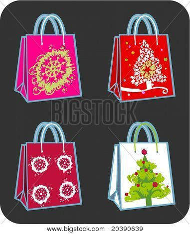 Four  shopping bags illustration with Christmas tree and snowflakes ornaments