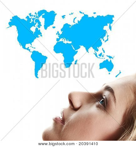 beautiful natural make-up woman with blond hair looking at the map of the world