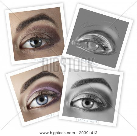 before and after of a woman's eye retouching - close-up of professional high-end image retouch, including contouring illustration