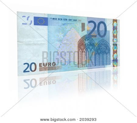 20 Euro With Reflection
