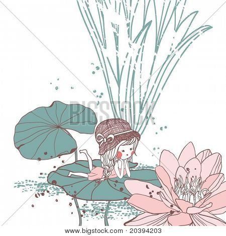 girl lying on the water lily