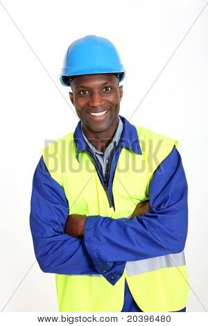 Construction worker standing on white background