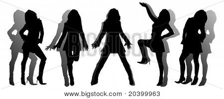 Five silhouettes of the girl. A vector illustration.