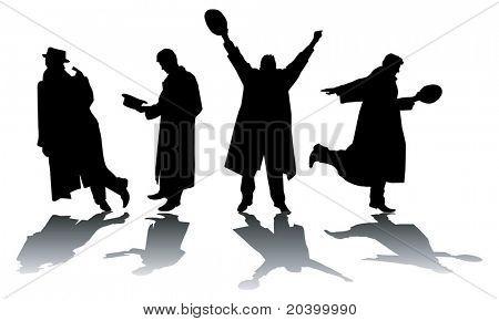 Quatro silhuetas de homens. Uma ilustração do vetor.