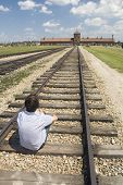 stock photo of auschwitz  - Entrance or so - JPG
