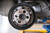 Car Suspension & Bearing Of Wheel Hub In Auto Service Maintenance. Car Lift Up By Hydraulic, Waiting poster