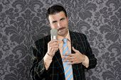 nerd retro mustache man microphone singing silly wallpaper background poster