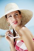 image of woman beach  - young female in retro summer outfit - JPG
