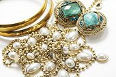 picture of vintage jewelry  - a collection of vintage jewelry - JPG