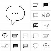 Thin Line Chat, Speech, Bubble, Chatting  Icon On White Backgrou poster