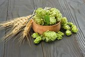 Beer Brewing Ingredients Hop Cones In Wooden Bowl And Wheat Ears On Dark Wooden Background. Beer Bre poster