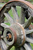 pic of stagecoach  - Old wooden rustic wagon wheel in a grassy field - JPG