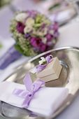 stock photo of wedding table decor  - table decorated for the wedding party - JPG