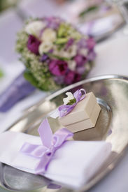 image of wedding table decor  - table decorated for the wedding party - JPG