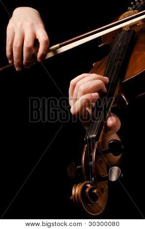 Female hands play a violin on black