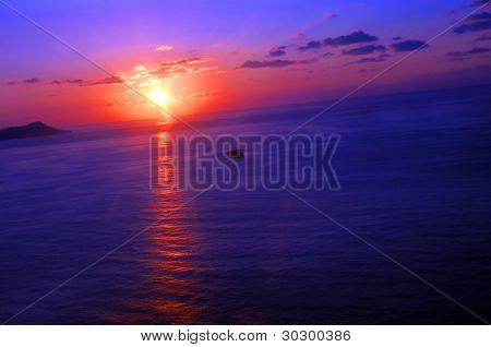 Angled Sunset Over Diamond Head