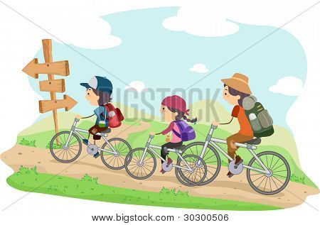 Illustration of a Family on a Camping Trip