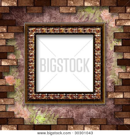 Gold Frame With A Decorative Pattern On The Abstract Background.