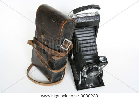 Old Folding Camera With Leather Case Leaning