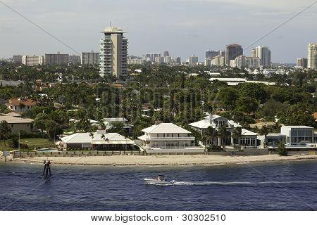 Boat Sails In Intracoastal Coastline Of Ft. Lauderdale, Florida
