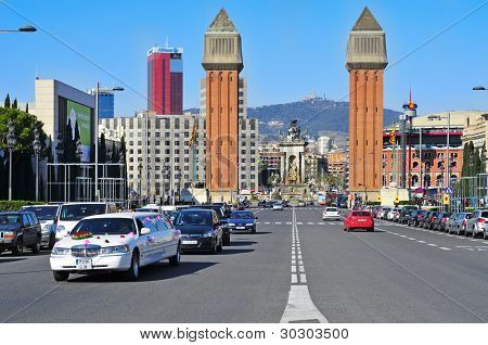 BARCELONA, SPAIN - FEBRUARY 12: Plaza de Espanya on February 12, 2012 in Barcelona, Spain. There are many landmarks in Plaza de Espanya, such as the twin campanile-style towers built in 1929