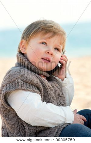 Baby Girl Talking On Mobile Phone.