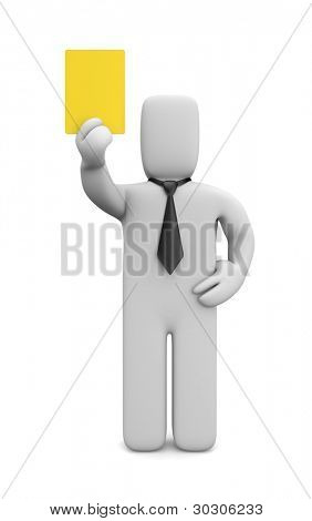 Person showing yellow card. Image contain clipping path