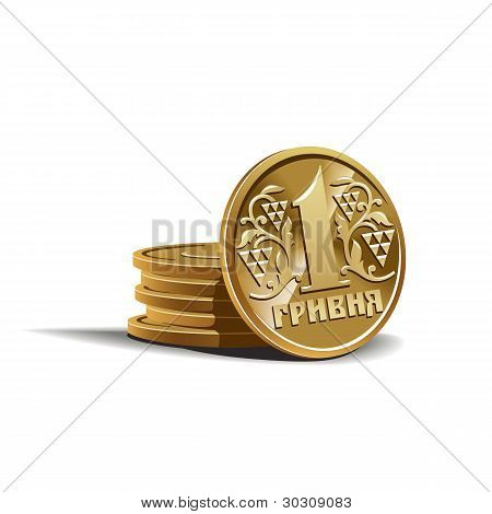 Hryvnia coins vector illustration, financial theme