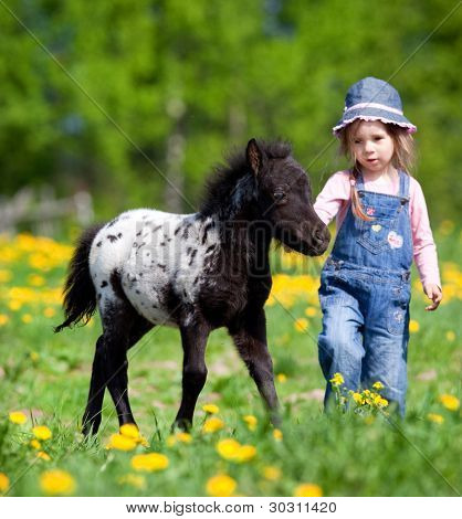 Child and foal in field