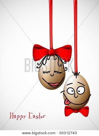 Lustige Ostereier mit einem Bogen - Happy Easter-Card