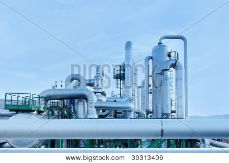 Geothermal Energy. Pipes Details Of A Power Station.