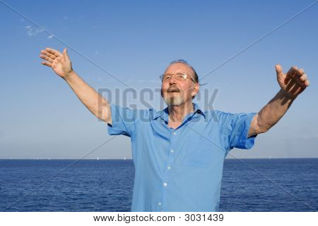 Happy Smiling Active Senior Old Man On Vacation
