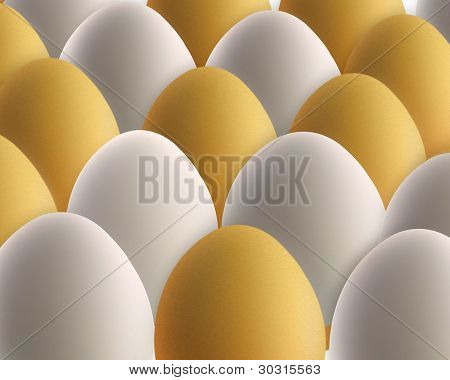 Set Of Golden And White Eggs