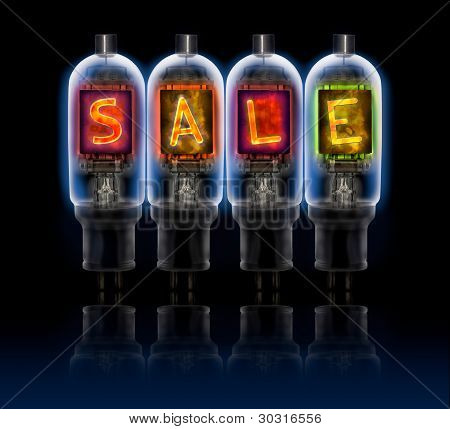 Word Sale  Made With A Row Of Bulbs