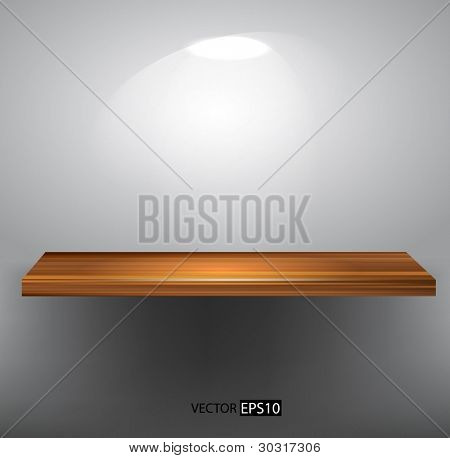 Vector wooden empty shelf
