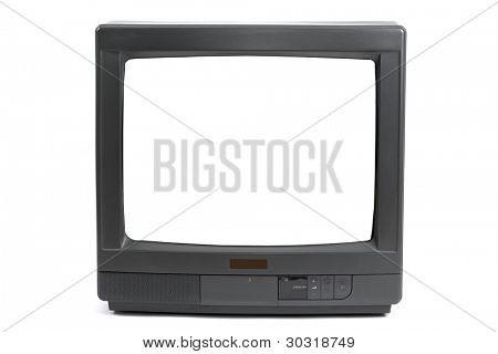 Old TV set with blank white screen