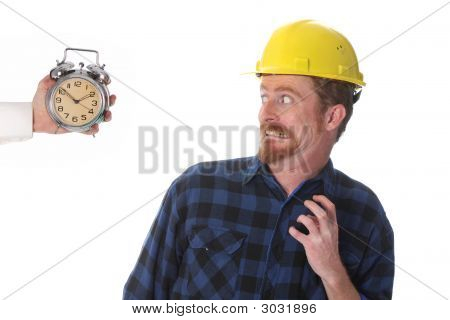 Construction Worker Looking At His Watch