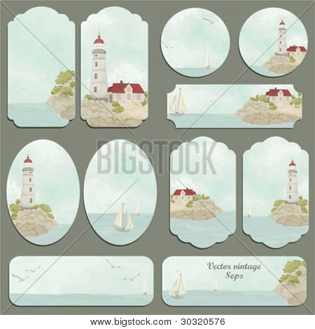 Sea set of a retro cards with seagulls, ships, a beacon and the house