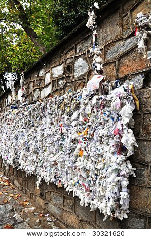 A Wall of Prayers to the Virgin Mary, Ephesus, Turkey