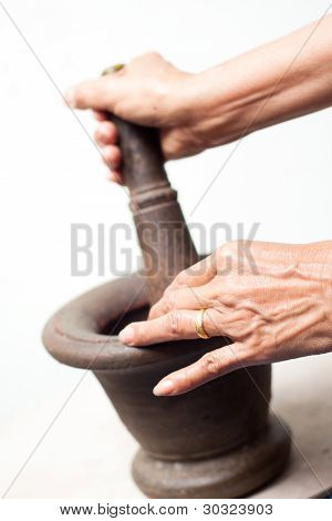 Old Woman With Mortar, Thai Cuisine