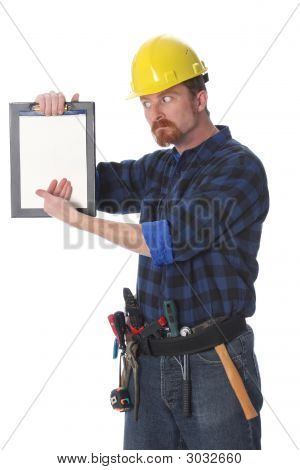 Construction Worker Wonderfully Looking On Documents