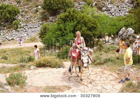 Crete Island, Greece - May 13: The Female Tourist On A Donkey And Local Greek Man