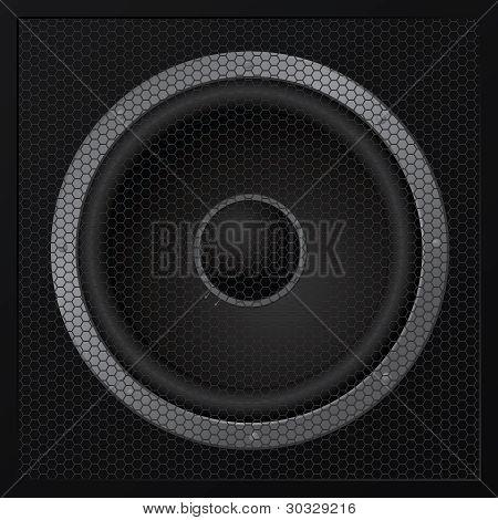 Black Loudspeaker Closeup - Vector
