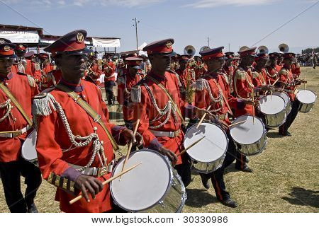 Drummers From The Ceremonial Marching Band Marching Past At The World Aids Day Event In Fitche