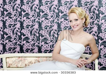 Bride Smiling Sitting Bench