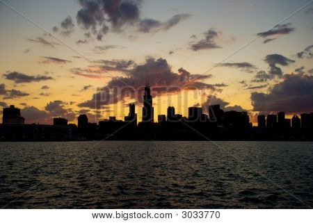 Chicago Sunset Scene