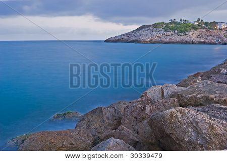 Evening on the sea near Tarragona